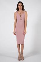 Donna Mizani Lace Up Sheath Dress in Pink