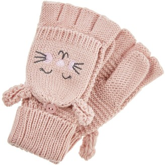 Accessorize Girls Bella Bunny Capped Mittens - Pink