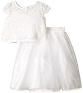 Us Angels Satin & Lace Two-Piece Popover Bolero & Layered Skirt (Big Kids)