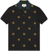 Gucci Cotton polo with tiger head embroidery