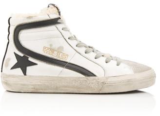 Golden Goose Slide Distressed Shearling-Trimmed Leather High-Top Sneak