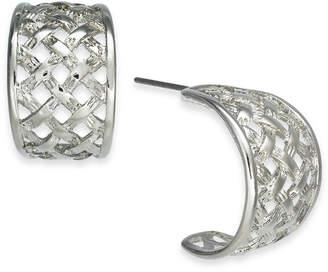 Charter Club Silver-Tone Small Basketweave Hoop Earrings, .75