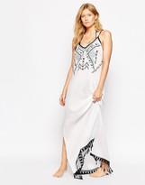 Liquorish Cheesecloth Embroidered Beach Maxi Dress