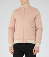 Reiss Reiss Akio - Zip Bomber Jacket In Pink