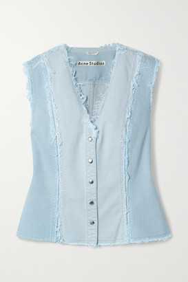 Acne Studios Net Sustain Frayed Patchwork Organic Denim Vest - Light denim