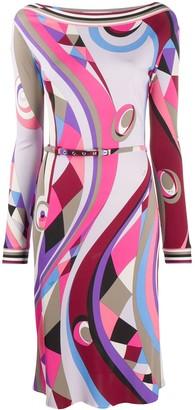 Emilio Pucci Abstract-Print Fitted Dress