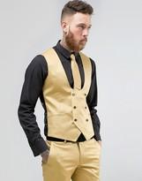 Noose & Monkey Super Skinny Suit Vest In Metallic