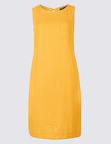 M&S Collection Linen Blend Pocket Round Neck Tunic Dress