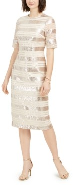Vince Camuto Sequin-Stripe Midi Dress