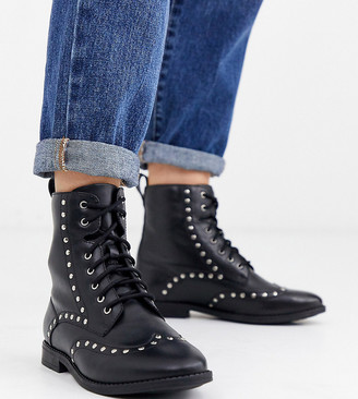 Simply Be Wide Fit Simply Be tanya wide fit leather studded biker boot in black