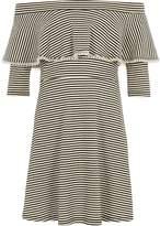 River Island Girls Black stripe pearl trim bardot dress