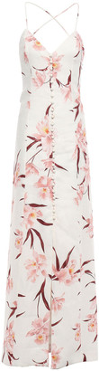 Zimmermann Corsage Open-back Floral-print Linen Maxi Dress