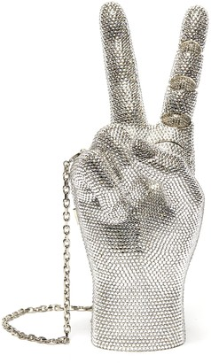 Judith Leiber 'Silver Hand War and Peace' Crystal Embellished Crossbody Bag