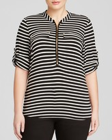 Calvin Klein Plus Stripe Roll Sleeve Top