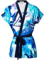 Matthew Williamson Blue Marble Satin Kimono Top