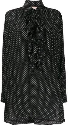 Plan C Polka Dot Print Ruffle Shirt