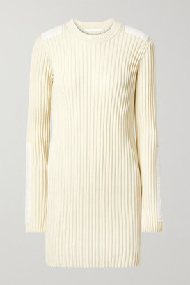 Helmut Lang Velvet-trimmed Ribbed Cotton And Cashmere-blend Mini Dress - Cream