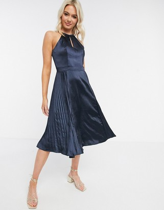 Chi Chi London keyhole neck satin dress in navy