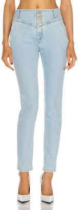 Alessandra Rich High Waisted Jeans With Crystal Buttons in Light Blue | FWRD