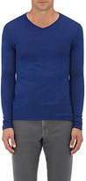 Barneys New York MEN'S ROLLED-EDGE WOOL V-NECK SWEATER