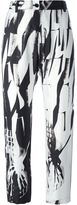 Ann Demeulemeester abstract print tapered cropped trousers - women - Silk/Rayon - 40