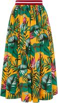 Stella Jean Ruvida Leaf Print A Line Midi Skirt