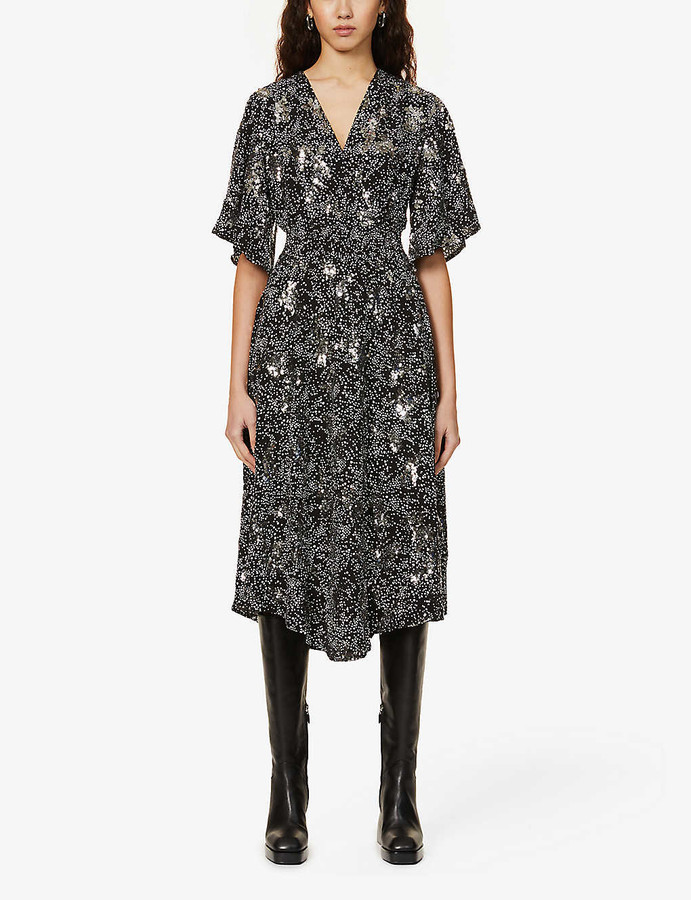 Maje Rosabelle sequin-embellished woven midi dress