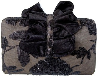 Simitri Black Floral Lace Clutch