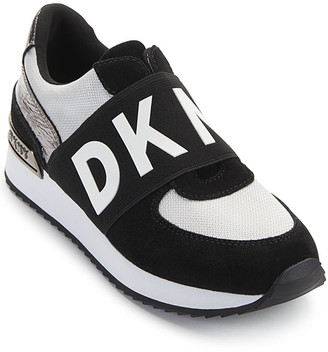 DKNY Women's Sneakers Z2E:SLV/BLACK - Silver & Black Logo-Strap Marli Slip-On Sneaker - Women