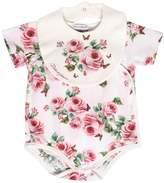 Dolce & Gabbana Roses Print Cotton Jersey Bodysuit & Bib