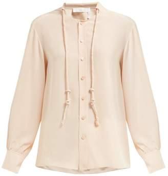 Chloé Neck-cord Silk Blouse - Womens - Light Pink
