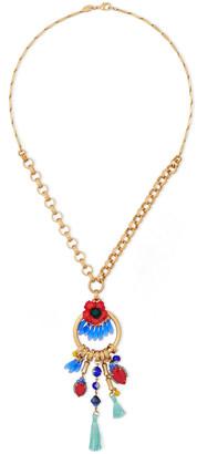 Elizabeth Cole 24-karat Gold-plated, Glass, Tassel And Swarovski Crystal Necklace
