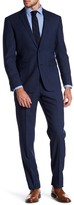 Vince Camuto Navy Windowpane Notch Lapel Two Button Slim Fit Wool Suit