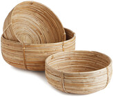 Napa Home And Garden Set Of 3 Cane Rattan Low Baskets