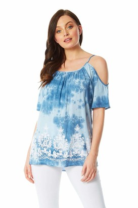 Roman Originals Women Cold Shoulder Tie Dye Embroidered Top - Ladies Smart Casual Everyday Holiday Cruise Travel Party Embellished Applique Printed Tops - Light Blue - Size 14