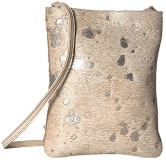 Leather Rock Beatrice Cell Pouch (Hair Burnt Silver) Cross Body Handbags