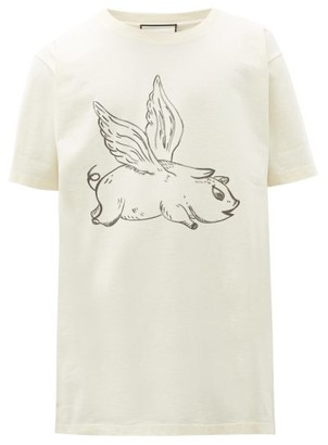 Gucci Flying Pig-print Cotton T-shirt - White