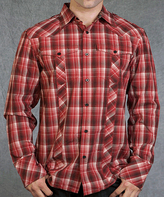Rebel Spirit Red Plaid Wings Embroidery Button-Up - Men's Regular