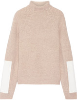 Victoria Beckham Faux Leather-trimmed Wool Turtleneck Sweater - Cream