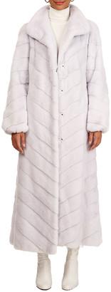Gorski Chevron Mink Fur Coat W/ Bubble Sleeves