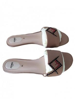 Fendi Camel Cloth Sandals