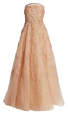 Marchesa Women's Blush Beaded Floral Strapless Gown