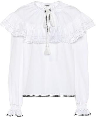 Miu Miu Embroidered cotton blouse
