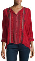 Johnny Was Melvin Embroidered Button-Front Tunic, Plus Size