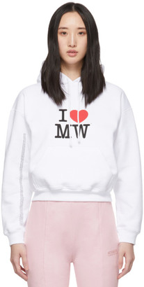 Vetements White I Heart MW Cropped Hoodie