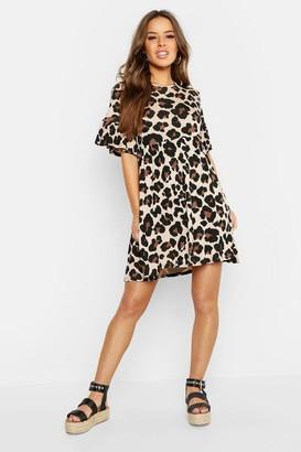 boohoo Petite Leopard Print Smock Dress