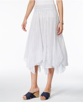 Style&Co. Style & Co Petite Cotton Striped Handkerchief-Hem Skirt, Created for Macy's