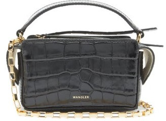 Wandler Yara Mini Crocodile-effect Leather Cross-body Bag - Black