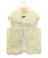 Takara Ivory & Gold Faux Fur Vest - Girls