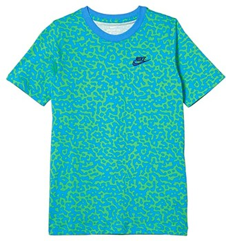 Nike Kids NSW Mezzo AOP Tee (Little Kids/Big Kids) (White/Washed Coral/Barely Volt) Boy's T Shirt